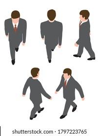 Businessman illustration of walking. Overhead view.