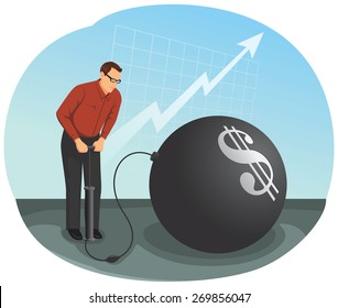 Businessman is inflating a big bubble with the money symbol. Financial Crisis Concept.
