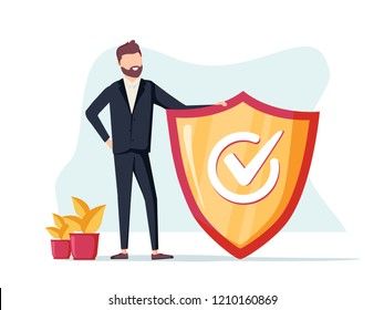 Businessman and info sign. Information FAQ, notice and advertisement concept. Banner for web page. Modern vector illustration. Business success concept, ensurance lawyer or business protection secure
