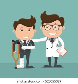 Businessman injured with Doctor - vector illustration