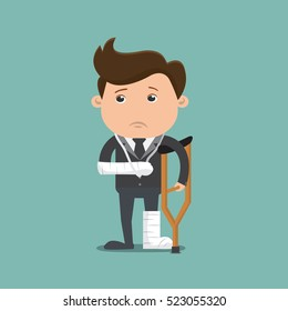 Businessman injured , Businessman on crutches of an injured - vector illustration