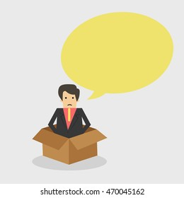 Businessman inside The Box with Speech bubble Business concept, vector illustrator