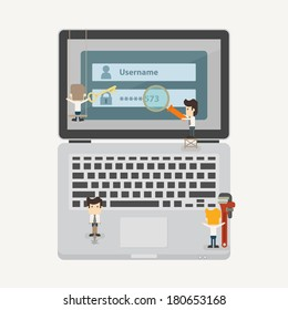 Businessman and internet security concept , eps10 vector format
