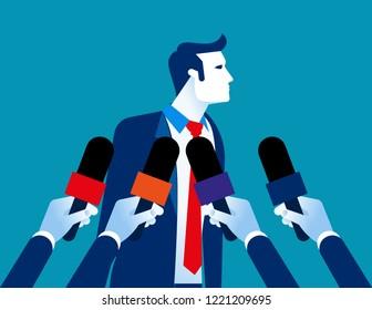 Businessman interview. Concept business vector illustration, Newspaper, News Reporter.