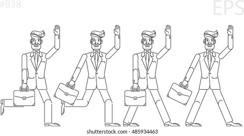 Businessman, investor, boss, agent. Black line icon. Flat cartoon style. Portfolio. Run. Isolated vector illustration