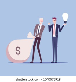 Businessman or investor drags a huge bag of money in exchange for a new idea from another businessman or emloyee vector flat illustration. Business concept idea, money and investment