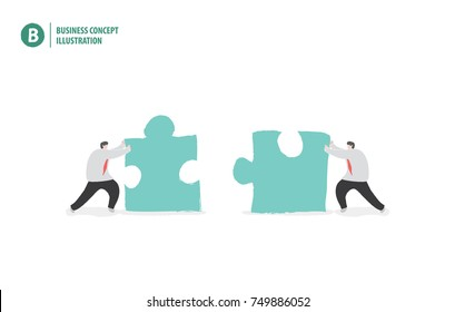 Businessman with jigsaw puzzle meaning collaboration or teamwork on white background illustration vector. Business concept.