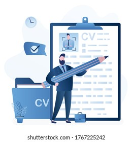 Businessman job seeker hold big pencil and write cv. Resume of candidate with avatar. Unemployment, workless male character searching job. Folder with papers. Flat design. Trendy vector illustration