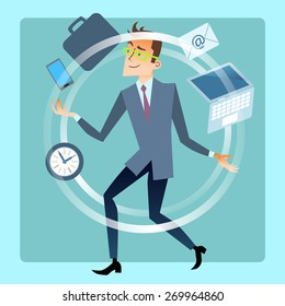 Businessman juggler planning time work. Business and finances. Male office worker juggles smartphone, laptop, mail, documents, portfolio