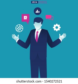 Businessman juggling a business communication icon. Business Vector Illustration