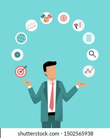 Businessman is juggling business icons. Illustration of the correct distribution work time. Business management vector illustration.
