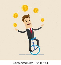 Businessman juggling coin while cycling. Vector, illustration, flat