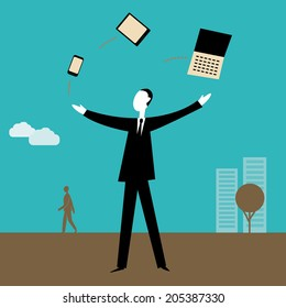 Businessman juggling with technological items.