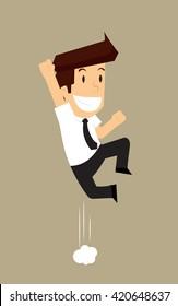 businessman jump ecstasy. vector