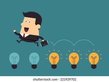 Businessman jump on light bulbs, Idea concept