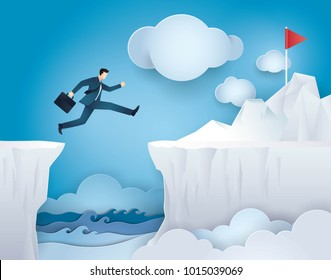 Businessman Jump over Between Cliff Gap Mountain To the Red Flag, Concept of business risk, Challenge, Courage, Determination, motivation, Reach the target, Paper art vector and illustration.