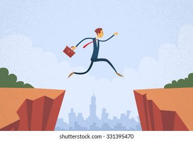 Businessman Jump Over Cliff Gap Mountain Flat Retro Vector Illustration