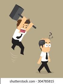 businessman jump smash boss. vector