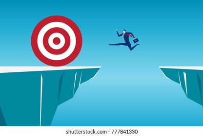 Businessman jump through the gap obstacles between hill to big target and success. Running and jump over cliffs. Business risk and success concept. Cartoon Vector Illustration.