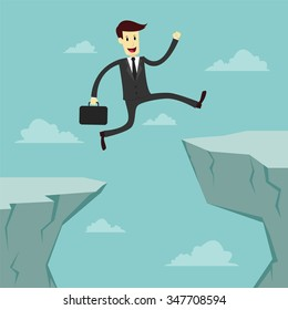 Businessman Jumping across the chasm, business vector illustration