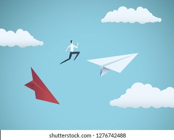 Businessman jumping between paper planes. Business symbol or metaphor for risk, danger, change, escape or bankruptcy and bailout. Eps10 vector illustration.