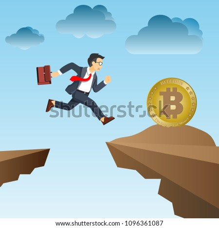 Businessman Jumping Cliff Grab Bitcoin Stock Vector (Royalty Free