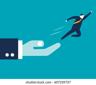 Businessman jumping from the hand of a big boss
