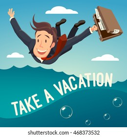 A businessman jumping into water. Motivating EPS10 vector illustration