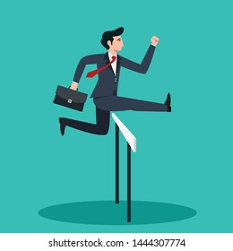 Businessman jumping on the obstacle.Business start up concept.Vector illustration.