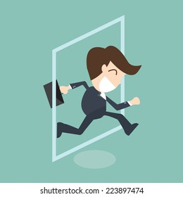 businessman jumping out of frame