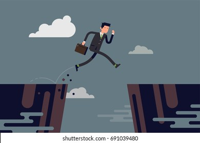 Businessman jumping over abyss. Cool vector concept illustration on overcoming obstacles in career or business with running business man in formal suit jumping over abstract precipice
