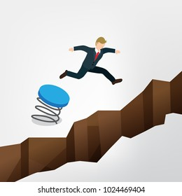businessman jumping over the chasm