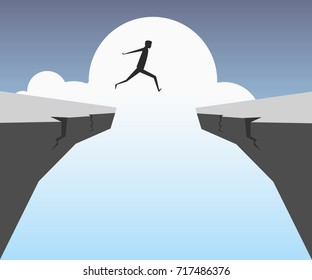 Businessman jumping over chasm. Business success,risk
