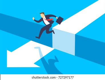 Businessman jumping over chasm, Gap on way to success, Business concept of challenge problem solving and overcoming obstacles, Flat design vector illustration