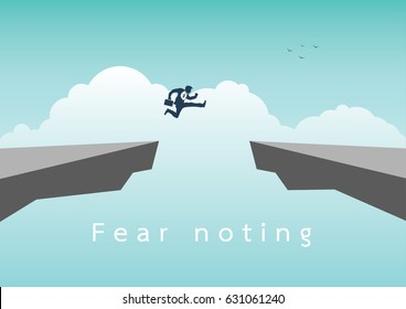 Businessman jumping over chasm vector concept. Symbol of business success, challenge, risk, courage. vector illustration.