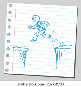 Businessman jumping over cliff