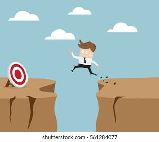 businessman jumping over cliff to target, business concept vector illustration