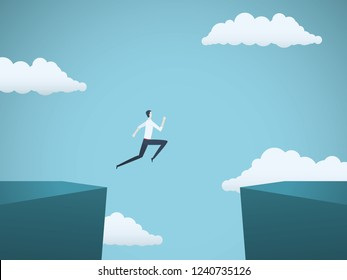 Businessman jumping over gap between cliffs vector concept. Symbol of business risk, success, motivation, ambition and challenge. Eps10 vector illustration.
