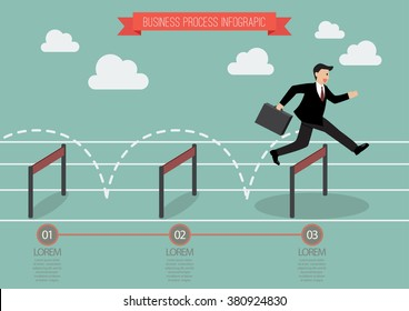 Businessman jumping over hurdle infographic. Business concept