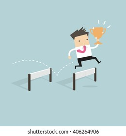 Businessman jumping over obstacle and holding trophy vector
