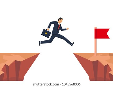 Businessman jumping over obstacle. Jumping oveer chasm