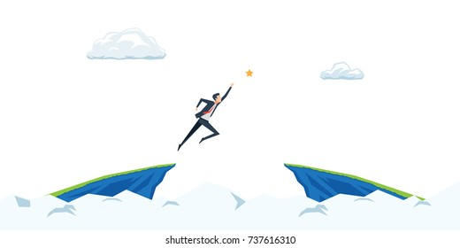 the businessman is jumping to reach the star between the cliff