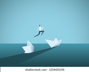 Businessman jumping from sinking ship vector concept. Symbol of new beginning, bailout, bankruptcy, new opportunity. Eps10 vector illustration.