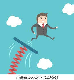 Businessman jumping from springboard on blue sky background. Business, success, start, beginning, courage, progress and career concept. EPS 8 vector illustration, no transparency