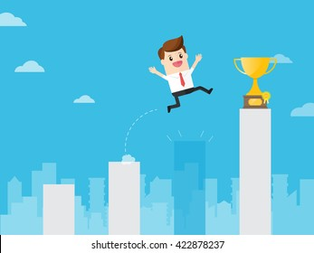businessman jumping through gap bar like crisis to get golden trophy in charts in cityscape