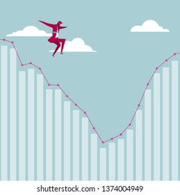 Businessman jumps off from the chart. The background is blue.
