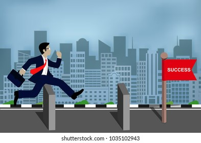 Businessman jumps over obstacles to goal. Business success, challenge, risk and overcome problems or obstacles. Cartoon illustrations vector