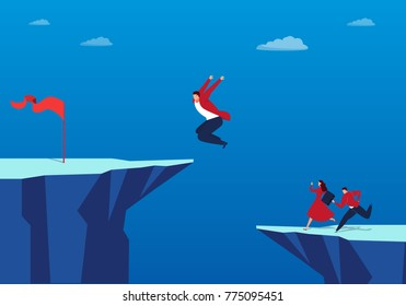 Businessman jumps to the top of a cliff