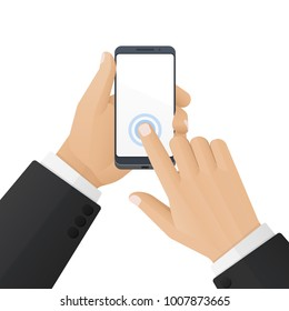 Businessman keeps modern high-tech smartphone with touch screen in hand. Vector illustration isolated on a white background