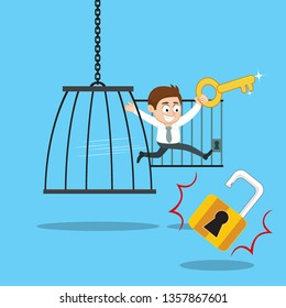 Businessman with key free himself from cage freedom, illustration vector cartoon